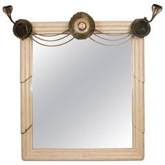 Art Deco Mirror with Edgar Brandt Decoration