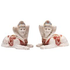 Pair of Glazed Terra Cotta Sphinx Figures