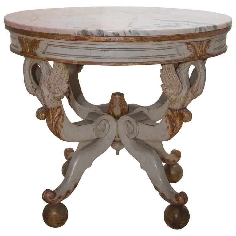 19th Century Swedish Circular White Painted and Parcel-Gilt Table For Sale