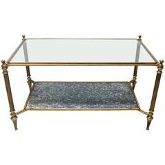 Maison Jansen Style Rectangular Brass, Antique Mirror and Glass Cocktail Table