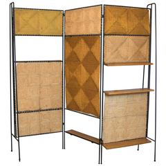 Tri-Fold Wrought Iron, Jute and Wooden Screen and Room Divider