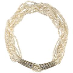 Ten Strand Pearl 18-Karat and Diamond Torsade Choker by Cartier