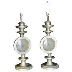 Oversize Italian Silver Leaf Table Lamps, Pair