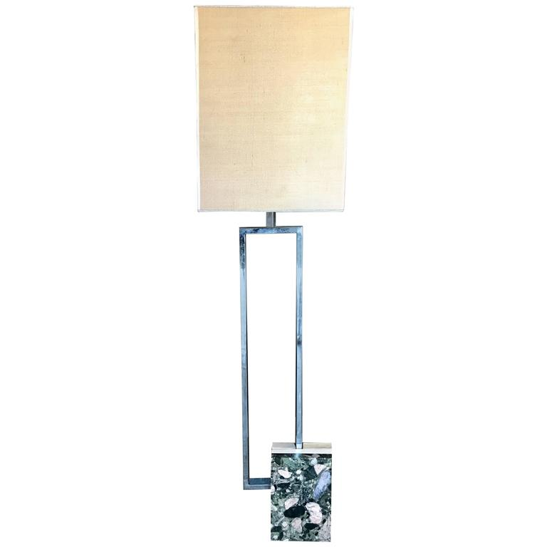 Italian Floor Lamp with Marble Base, 1970s For Sale