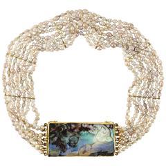 Opal Pearl and 24-Karat Gold Choker by Harry Fireside