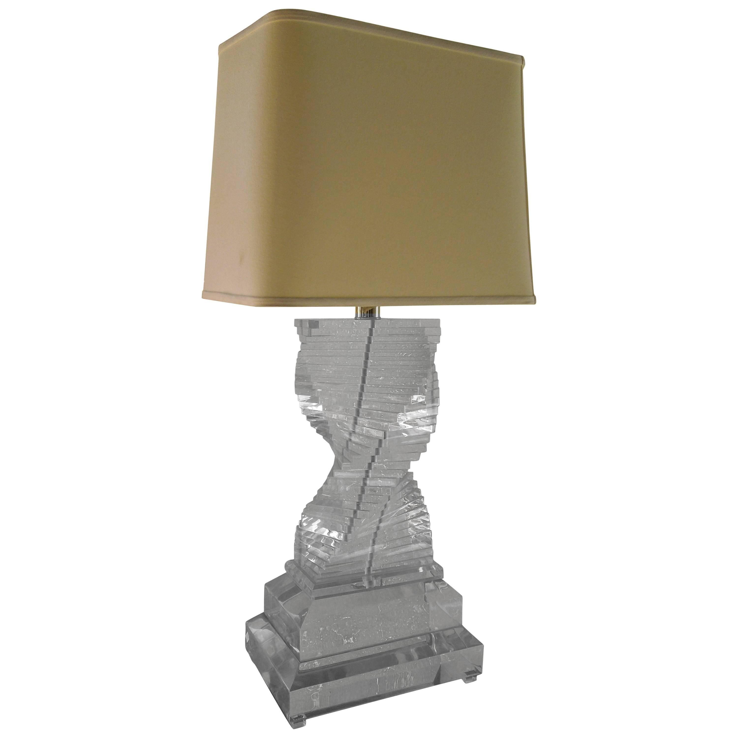 Monumental 1970s Stacked Lucite Table Lamp