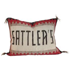 Amazing Navajo Weaving Pillow with Sattler's Name