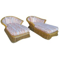 Pair of Large Steve Chase Palm Springs Style Rattan Chaise Lounges