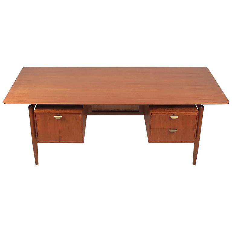 Finn juhl teak executive desk with floating top for sale for Floating desk for sale