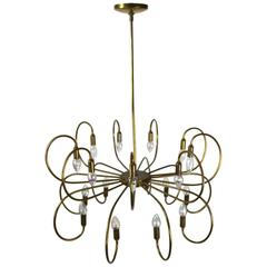 Large Eighteen-Light Brass Chandelier after Sarfatti