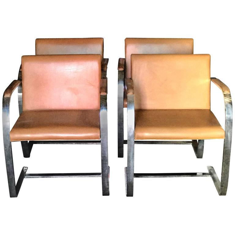 """Mies Van Der Rohe for Knoll Studio """"Brno Flat Bar"""" Lounge Armchair in Leather"""