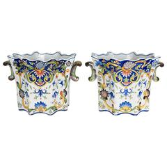 Pair of 19th Century French Desvres Cache Pot