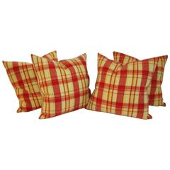 Two Pairs of Vibrant Red and Yellow Plaid Horse Blanket Pillows
