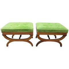 Pair of Carved Walnut Hollywood Regency Style X-Form Benches Stools