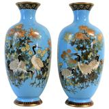 Pair of Japanese Meiji Period Cloisonné Vase's
