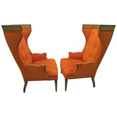 Pair of Regency Modern Tall Wing Back Walnut Chairs Mid-Century Tomlinson