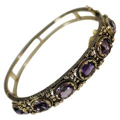 Ladies 14-Carat Gold and Amethyst Bracelet
