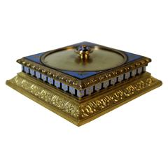 French Bronze & Champlevé Stamp Box