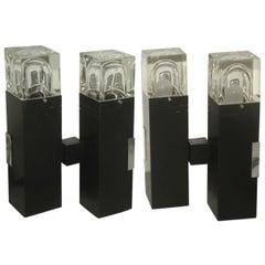 Pair of Table Lamps Sciolari Black Lacquered Aluminium 1970 Minimal Design