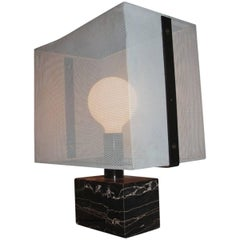 Minimal and Chic Design Lamperti Table Lamp 1960 Portoro Marble