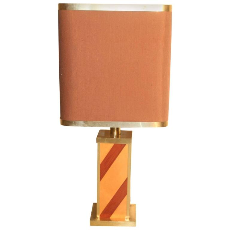Table Lamp in Wood and Brass, 1970