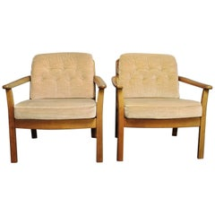 Pair of Easy Chairs in Polished Wood of Danish Design, 1960s