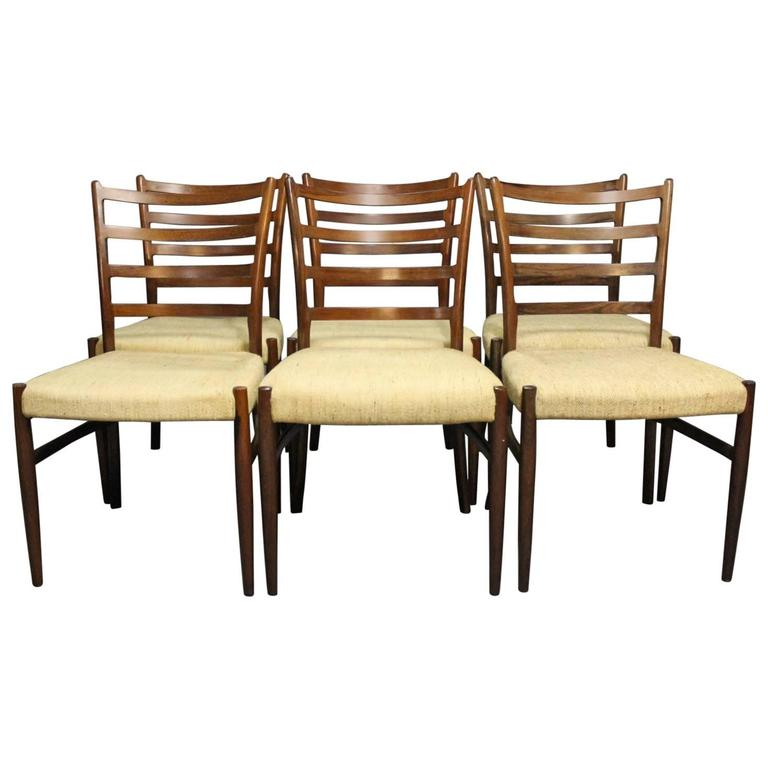 Set of Six Dining Room Chairs in Rosewood by N. O. Møller, 1960s