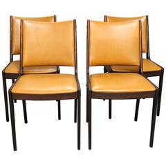 Set of Four Dining Room Chairs in Polished Mahogany and Cognac Leather, 1960s