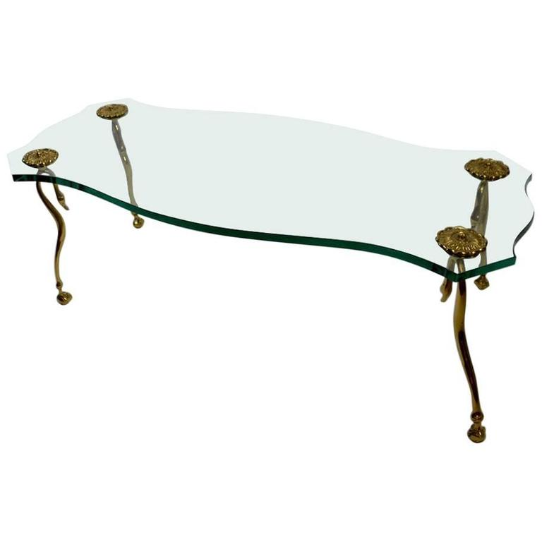 Hollywood Regency Plate Glass and Brass Coffee Cocktail Table
