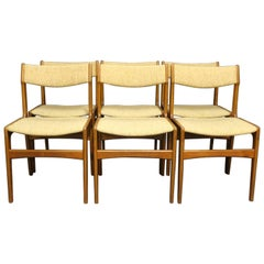 Set of Six Dining Room Chairs in Teak and Light Wool by Erik Buch, 1960s