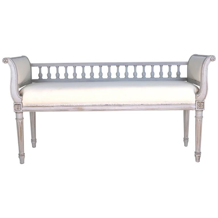 Rare Period Swedish Gustavian Painted Spindle Back Bench 19th Century For Sale At 1stdibs