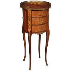 20th Century French Inlaid Nightstand Decorated with Bronzes