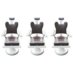 Set of Three French Barber Hairdresser's Chairs, in Original Crocodile Leather