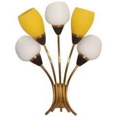 Mid-Century Big Italian Sconce Yellow Brass White Glass 1950