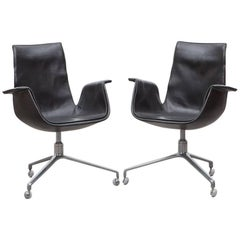 Pair of Fabricius/Kastholm Leather Swivel Chairs