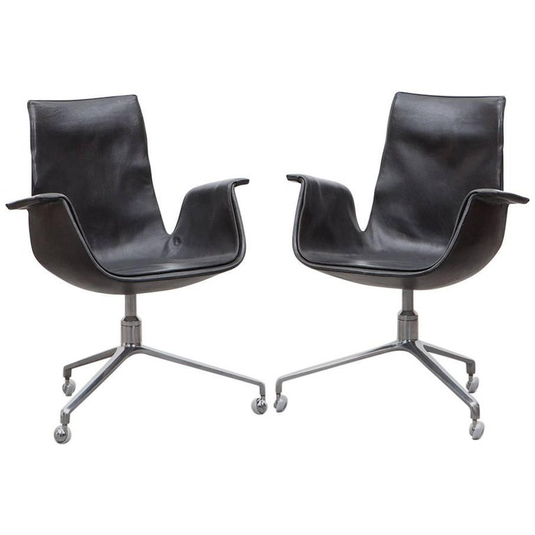 Pair of Fabricius/Kastholm Leather Swivel Chairs For Sale