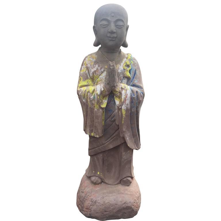 Important Chinese Antique Hand-Carved Stone Figure of Joyful Ananda