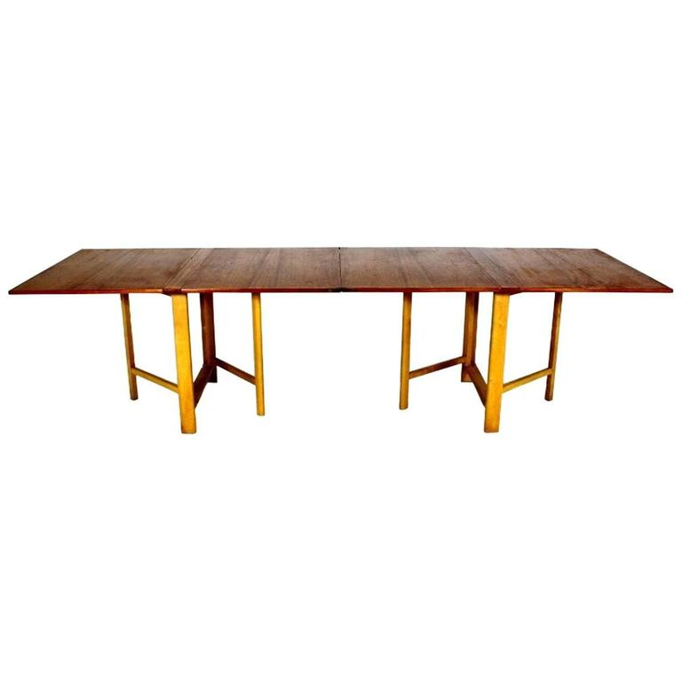 "Dining Table, ""Maria Flap"" Designed by Bruno Mathsson in Teak and Birchwood 1"