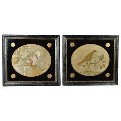 18th Century Pair of English Silk Work Embroidery Bird Pictures Georgian