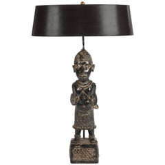 Mid-Century Black Tribal African Table Lamp Purpose Built Construction and Shade