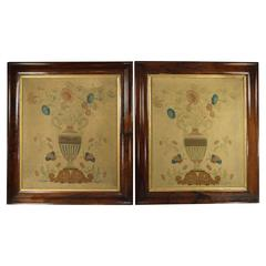 19th Century Pair of English Painted and Stenciled Floral Pictures, circa 1820
