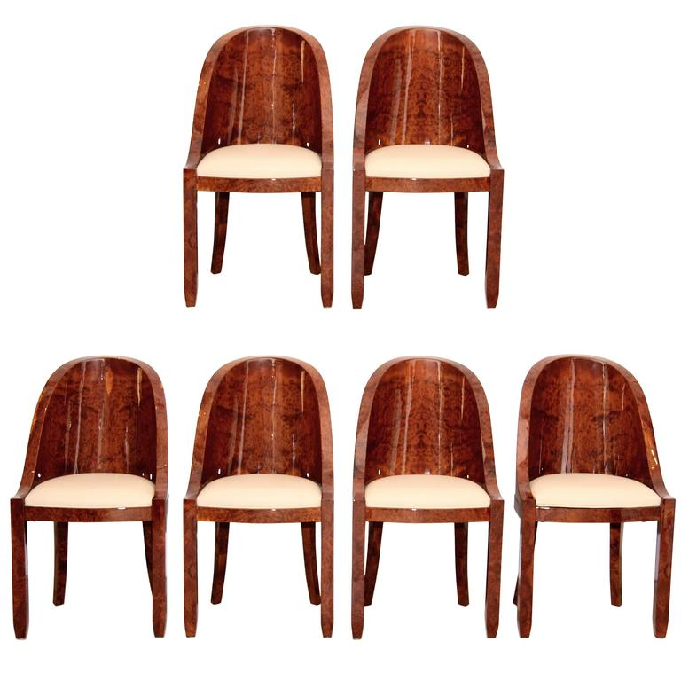 Set Of Six French Art Deco Dining Chairs In Tuja Burl Wood Re Lacquered At 1stdibs