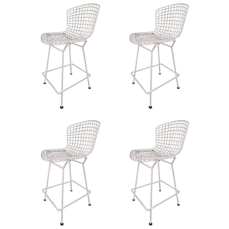 Set of Harry Bertoia Wire Bar Stools by Knoll International For Sale