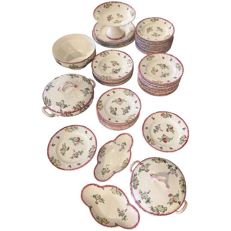 71 Piece Longwy Floral Crockery Set For Sale At 1stdibs