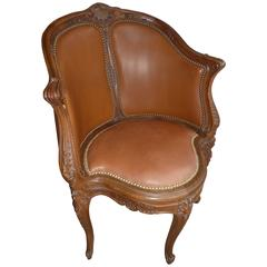 Oak and Leather French Regence Style Desk Armchair