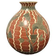 Mata Ortiz Pottery Vase / Olla by Ricardo Delgado Cruz Hummingbirds