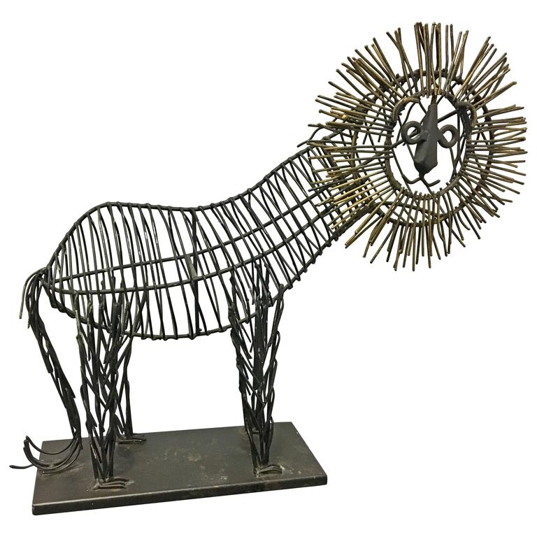 Whimsical Metal Wire Lion Sculpture Unsigned in the Style of C. Jere ...