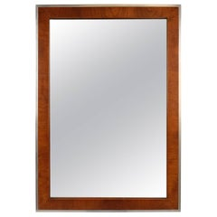 Modernist Wood and Chrome Wall Mirror