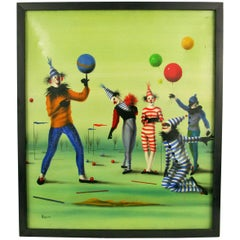 Surreal Circus Clowns Figurative Painting