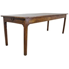Beautifully Grained Elm Farm Table, Two Drawers